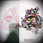 эскиз тату глаз в треугольнике №775 - классный вариант рисунка, который успешно можно использовать для переделки и нанесения как тату глаз в треугольнике и цветы