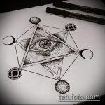 эскиз тату глаз в треугольнике №532 - достойный вариант рисунка, который легко можно использовать для преобразования и нанесения как тату глаз в треугольнике с розами