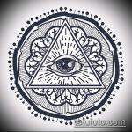 эскиз тату глаз в треугольнике №246 - эксклюзивный вариант рисунка, который хорошо можно использовать для переделки и нанесения как тату глаз в треугольнике на запястье