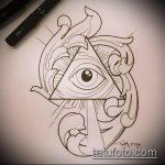 эскиз тату глаз в треугольнике №778 - интересный вариант рисунка, который легко можно использовать для переработки и нанесения как тату глаз в треугольнике на запястье