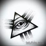 эскиз тату глаз в треугольнике №459 - прикольный вариант рисунка, который хорошо можно использовать для доработки и нанесения как тату глаз в треугольнике с розами