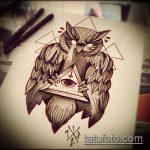 эскиз тату глаз в треугольнике №373 - крутой вариант рисунка, который легко можно использовать для переделки и нанесения как тату глаз в треугольнике на ноге