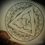 эскиз тату глаз в треугольнике №752 - достойный вариант рисунка, который хорошо можно использовать для преобразования и нанесения как тату глаз в треугольнике на ладони
