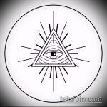 эскиз тату глаз в треугольнике №311 - классный вариант рисунка, который легко можно использовать для переделки и нанесения как тату глаз в треугольнике и цветы