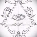 эскиз тату глаз в треугольнике №55 - уникальный вариант рисунка, который удачно можно использовать для доработки и нанесения как тату глаз в треугольнике с крыльями