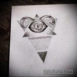 эскиз тату глаз в треугольнике №254 - интересный вариант рисунка, который успешно можно использовать для переработки и нанесения как тату глаз в треугольнике на ноге