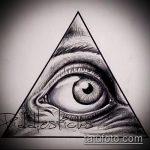 эскиз тату глаз в треугольнике №844 - классный вариант рисунка, который удачно можно использовать для преобразования и нанесения как тату глаз в треугольнике на ноге