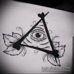 эскиз тату глаз в треугольнике №441 - достойный вариант рисунка, который легко можно использовать для переделки и нанесения как тату глаз в треугольнике на ноге