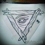 эскиз тату глаз в треугольнике №625 - интересный вариант рисунка, который хорошо можно использовать для доработки и нанесения как тату глаз в треугольнике на ноге