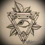 эскиз тату глаз в треугольнике №168 - прикольный вариант рисунка, который легко можно использовать для переработки и нанесения как тату глаз в треугольнике и цветы