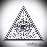 эскиз тату глаз в треугольнике №885 - достойный вариант рисунка, который удачно можно использовать для преобразования и нанесения как тату глаз в треугольнике на шее