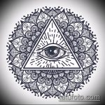 эскиз тату глаз в треугольнике №267 - эксклюзивный вариант рисунка, который хорошо можно использовать для преобразования и нанесения как тату глаз в треугольнике на ноге