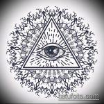 эскиз тату глаз в треугольнике №85 - классный вариант рисунка, который успешно можно использовать для доработки и нанесения как тату глаз в треугольнике с розами