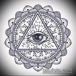 эскиз тату глаз в треугольнике №825 - эксклюзивный вариант рисунка, который хорошо можно использовать для доработки и нанесения как тату глаз в треугольнике с розами