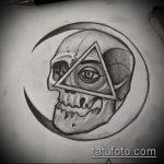 эскиз тату глаз в треугольнике №65 - крутой вариант рисунка, который успешно можно использовать для переработки и нанесения как тату глаз в треугольнике с розами