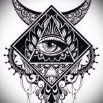 эскиз тату глаз в треугольнике №260 - классный вариант рисунка, который хорошо можно использовать для доработки и нанесения как тату глаз в треугольнике и сова