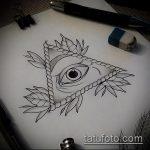 эскиз тату глаз в треугольнике №496 - достойный вариант рисунка, который легко можно использовать для доработки и нанесения как тату глаз в треугольнике с розами