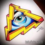 эскиз тату глаз в треугольнике №350 - крутой вариант рисунка, который хорошо можно использовать для доработки и нанесения как тату глаз в треугольнике и цветы