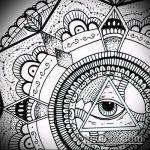 эскиз тату глаз в треугольнике №537 - уникальный вариант рисунка, который удачно можно использовать для переработки и нанесения как тату глаз в треугольнике на шее
