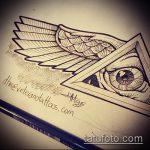 эскиз тату глаз в треугольнике №651 - прикольный вариант рисунка, который успешно можно использовать для преобразования и нанесения как тату глаз в треугольнике на ноге