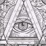 эскиз тату глаз в треугольнике №176 - достойный вариант рисунка, который хорошо можно использовать для переработки и нанесения как тату глаз в треугольнике на предплечье
