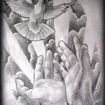 эскиз тату голубь №771 - эксклюзивный вариант рисунка, который хорошо можно использовать для доработки и нанесения как тату голубь на запястье