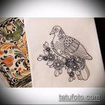 эскиз тату голубь №118 - эксклюзивный вариант рисунка, который хорошо можно использовать для переделки и нанесения как тату голубь на руке