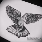эскиз тату голубь №3 - интересный вариант рисунка, который удачно можно использовать для переделки и нанесения как тату пара голубей