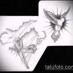 эскиз тату голубь №137 - крутой вариант рисунка, который удачно можно использовать для доработки и нанесения как голубь мира тату