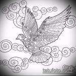 эскиз тату голубь №261 - уникальный вариант рисунка, который хорошо можно использовать для преобразования и нанесения как голубь мира тату