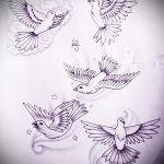 эскиз тату голубь №639 - эксклюзивный вариант рисунка, который успешно можно использовать для преобразования и нанесения как тату пара голубей