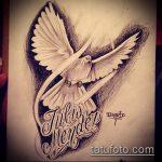 эскиз тату голубь №764 - прикольный вариант рисунка, который успешно можно использовать для переработки и нанесения как тату голубь на запястье