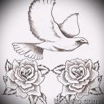 эскиз тату голубь №437 - крутой вариант рисунка, который удачно можно использовать для переделки и нанесения как тату на груди голуби