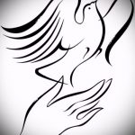 эскиз тату голубь №296 - эксклюзивный вариант рисунка, который удачно можно использовать для доработки и нанесения как тату голубь на руке