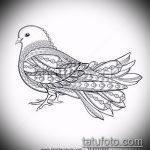 эскиз тату голубь №942 - крутой вариант рисунка, который хорошо можно использовать для переделки и нанесения как голубь мира тату