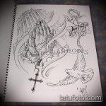 эскиз тату голубь №775 - эксклюзивный вариант рисунка, который удачно можно использовать для переработки и нанесения как тату белый голубь