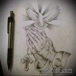 эскиз тату голубь №971 - эксклюзивный вариант рисунка, который удачно можно использовать для переработки и нанесения как тату в виде голубя