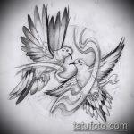 эскиз тату голубь №356 - эксклюзивный вариант рисунка, который хорошо можно использовать для переработки и нанесения как тату голубь с гранатой