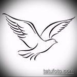 эскиз тату голубь №401 - интересный вариант рисунка, который легко можно использовать для переработки и нанесения как тату три голубя