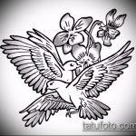 эскиз тату голубь №772 - прикольный вариант рисунка, который успешно можно использовать для переделки и нанесения как тату в виде голубя