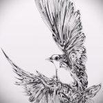 эскиз тату голубь №364 - крутой вариант рисунка, который хорошо можно использовать для переработки и нанесения как тату голубь на руке