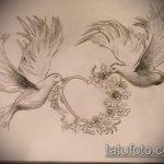 эскиз тату голубь №234 - интересный вариант рисунка, который легко можно использовать для переработки и нанесения как тату на груди голуби