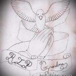 эскиз тату голубь №463 - прикольный вариант рисунка, который легко можно использовать для преобразования и нанесения как голубь мира тату