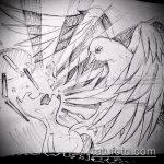 эскиз тату голубь №206 - крутой вариант рисунка, который легко можно использовать для переработки и нанесения как тату белый голубь