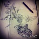 эскиз тату голубь №961 - эксклюзивный вариант рисунка, который легко можно использовать для переработки и нанесения как тату голубь на запястье