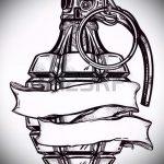 эскиз тату граната №60 - интересный вариант рисунка, который успешно можно использовать для преобразования и нанесения как тату сердце граната