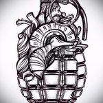 эскиз тату граната №704 - интересный вариант рисунка, который хорошо можно использовать для доработки и нанесения как роза с гранатой тату
