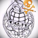 эскиз тату граната №839 - эксклюзивный вариант рисунка, который хорошо можно использовать для переработки и нанесения как тату сердце граната