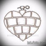 эскиз тату граната №255 - эксклюзивный вариант рисунка, который успешно можно использовать для доработки и нанесения как тату машина граната