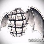 эскиз тату граната №477 - классный вариант рисунка, который хорошо можно использовать для переделки и нанесения как роза с гранатой тату
